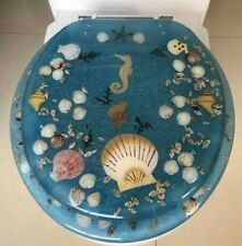 "Seahorse Seashells Acrylic Round shaped Toilet Seat Blue 17"" INCH"