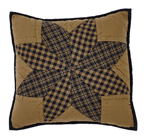 """NAVY STAR QUILTED ACCENT PILLOW COVER 16X16"""" EIGHT POINT STAR"""