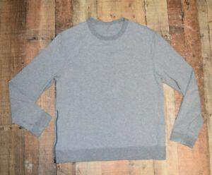 Men's LULULEMON 1 Side Hem Zip Gray Crew Sweatshirt Large / XL EUC B73