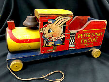 Fisher Price 715 Peter Bunny Engine Antique Wooden Pull Toy Circa 1948