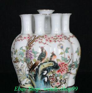 """9"""" Marked Old China Famille Rose Porcelain Gilt Flower Bird 9 Mouth Bottle Vase"""