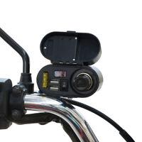 Motorcycle Handlebar Cigarette Lighter Dual 2 USB Power Socket Plug Waterproof #