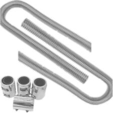 """2 Set of 48"""" Stainless Steel Radiator Flexible Coolant Water Hose w/ Chrome Caps"""