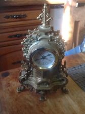 Uranio Brass Mantel Clock Vintage Baroque Style  Made In Italy