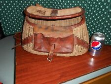 Vintage Leather Wicker Fish Creel Large 16""