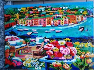 Quadro olio Acrilico Paesaggio Faccincani tela Dipinto Portofino fiori marina