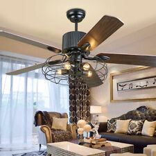 """52"""" 5 Blades Ceiling Fan with Light Kit Antique Bronze Reversible Remote Control"""