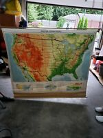 Vtg 1962 Denoyer Geppert Pull Down AMERICA WALL MAP classroom