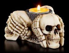 Teelichthalter - Drei Weise Schädel - Kerzenhalter Figur Totenköpfe Gothic Deko