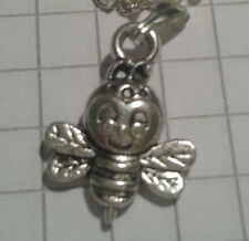 "Thin Velvet Leather or 22"" chain Tibetan Silver 3D Tiny Bumblebee Pendant +18/"""