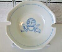 Schonwald Germany Ashtray Round White Light Blue Design 2 Slots Women Sphere HTF