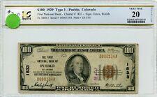 """FR1804-1 CH #1833 $100 1929 FRBN """"PUEBLO, CO"""" PCGS 20 VF (#37a DFP 7/17/20)"""