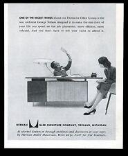 1955 George Nelson modern desk & light photo Herman Miller vintage print ad