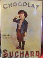 VINTAGE CHOCOLAT SUCHARD GRAND PRIX PARIS 1900 REPRODUCTION METAL POST CARD