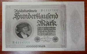 Old Paper Money 1923 100000 Reichsbanknote Mark-Excellent Condition