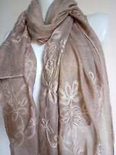 FLORAL SCARF TAUPE SHAWL EMBROIDERY GIFT SHAWL PARTY CAPE  PASHMINA CASUAL STOLE