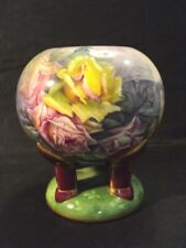 19th C. ROYAL BONN GERMANY ART POTTERY HAND PAINTED ROSE BOWL, ARTIST SIGNED