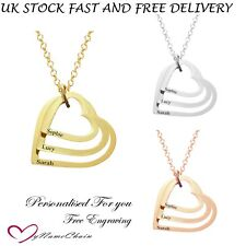 Personalised 3 Heart Love Pendant Engraved Name Necklace Silver Gold Rose Plated