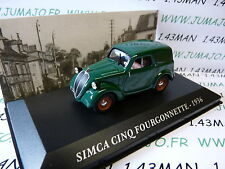 Voiture 1/43 IXO altaya Voitures d'autrefois : SIMCA 5 CINQ fourgonette 1936