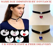 Fashion Women Heart Velvet Crystal Rhinestone Choker Necklace Jewellery 5Pack UK