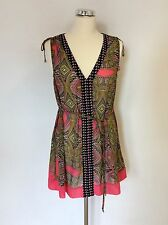 MONSOON PINK MULTI COLOURED PRINT TIE BELT TUNIC TOP SIZE S