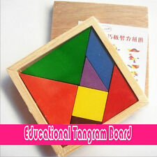 Wooden Children Kids Educational Tangram Board Shape Puzzle Toy Best Gift to Kid