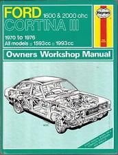 FORD Cortina Mark III 1600 & 2000 ASSI 1970-76 Haynes Officina Proprietari Manuale