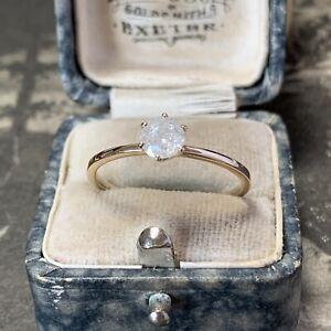 9ct Gold Tiffany Set Diamond Engagement Ring 0.58 Vintage Carat Solitaire UK U