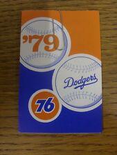 Accesorio de 1979: tarjeta de béisbol-de los Dodgers de Los Angeles (estilo desplegable toda falla W).