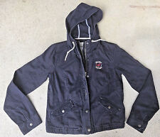 Womens Hollister Blue Cotton Hooded Distressed Jacket Coat Size L Large bx30