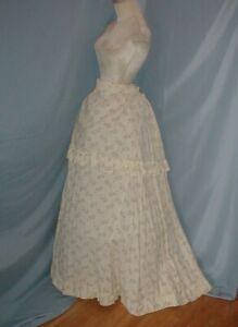 Antique Dress Tennis Skirt Victorian 1880 Racquet and Ball Printed Cotton Bustle