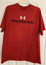 UNDER ARMOUR Heat Gear Athletes Run Red Running Workout T-Shirt Men's LG