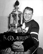 Turk Broda Toronto Maple Leafs 8x10 Photo with Vezina Trophy