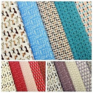 "100% Premium Quilting Cotton, Assorted Dogs, 3 Colour Range, 5 Designs, 44"" Wide"
