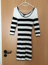 Kleid schwarz weiß Stretch gestreift kurz langarm figurbetont Mango S Damen