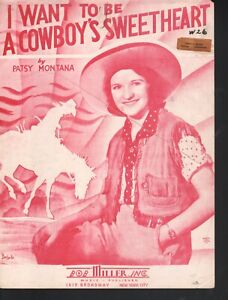 I Want To Be A Cowboy's Sweetheart 1935 Patsy Montana Barbelle Cover Sheet Music