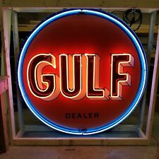 """Old Gulf Dealer Porcelain Sign with Animated Neon 60"""" Diameter - SSPN"""