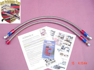 1986-1989 Porsche 944na 944 non Turbo , Stainless Steel Braided Fuel Lines 2 PCS