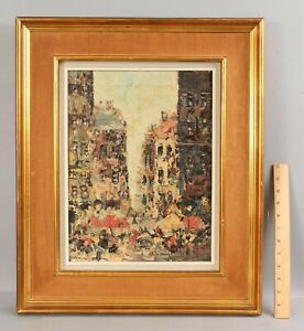 Mid-Century SIMON KRAMSKY French Impressionist City Marketplace Oil Painting NR
