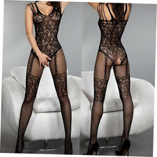 Exqusite Design Much-loved Floral Motif Mesh Body Stockings Black DHTR
