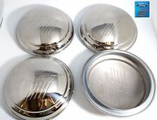 1946 Ford Passenger Car Stainless Hubcaps w 46 Ford Logo/Script -Set of 4 Wheels
