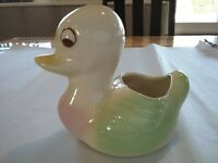 Vintage Baby Duck Planter 1950s Ceramic Pottery Mid Century green pink yellow