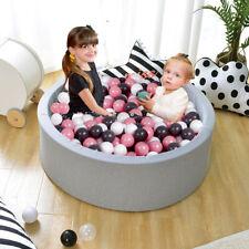 New Soft Baby Ball Pit Foam padding Pool 90x30 cm with 200balls  light gray UK