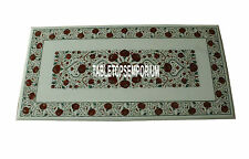 8'x4' Marvelous White Marble Christmas Decorative Table Inlaid Carnelian Arts