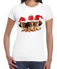 Christmas Dachshund Puppies with Santa Hats Women's T-Shirt