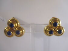 Julie Vos Trio Gold and Navy Clip-On Earrings NWT $155