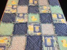 Appliqued duck rag quilt blanket lap baby/toddler boy handmade new minky