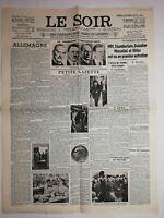N1172 La Une Du Journal Le Soir 30 septembre 1938 chambertin, Hitler, Mussolini