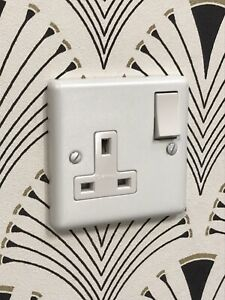 2 x Focus SB White Metal Single Switched 13 amp Socket Primed & Paintable