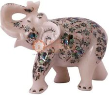 """8"""" White Handmade Elephant Sculpture Pauashell Marquetry Floral Veterans Gifts"""